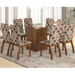 Conjunto para Sala de Jantar Mesa e 8 Cadeiras Ale Viero Avelã/Passion