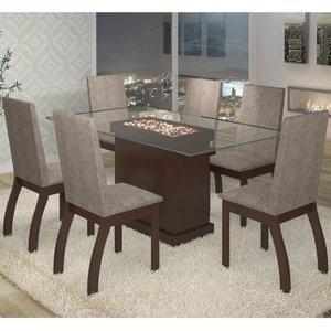 Conjunto para Sala de Jantar Mesa e 6 Cadeiras Cica Viero Choco/Canela