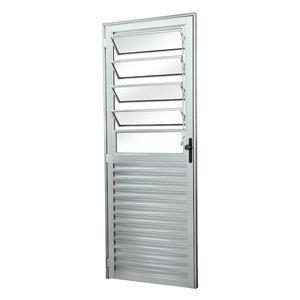 Porta de Alumínio com Basculante Vidro Liso Sólida MGM 210cmx80cm Natural
