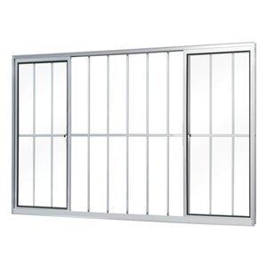 Janela de Correr Alumínio 4 Folhas com Grade MGM Soft 100cmx120cm Vidro Liso Incolor Branco