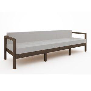 Sofá Componível Lazy - 3 Lugares (almofadas não acompanham o produto) Nogueira