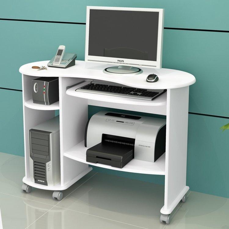 Mesa para computador dalla costa c18 branco brilho em for Mueble para cpu