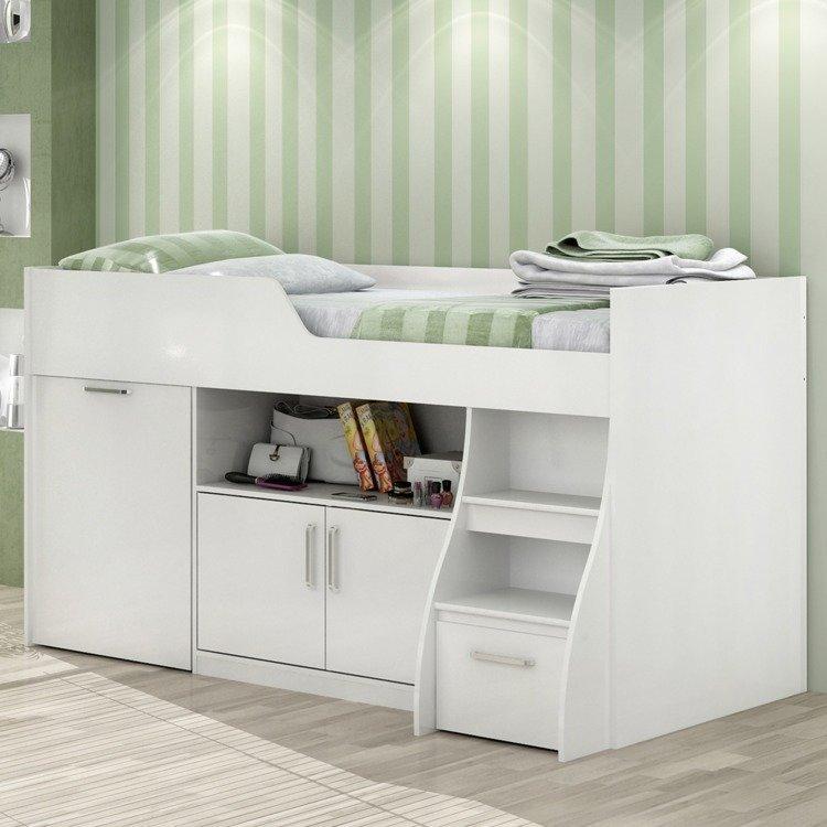 Cama infantil multifuncional alta com arm rio inferior bianca cimol branco em camas na - Cama sobre armario ...