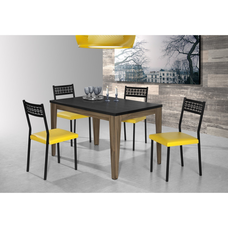 Conjunto Sala de Jantar Mesa Olinda 4 Cadeiras Thais Aço Nobre Nogal / Preto