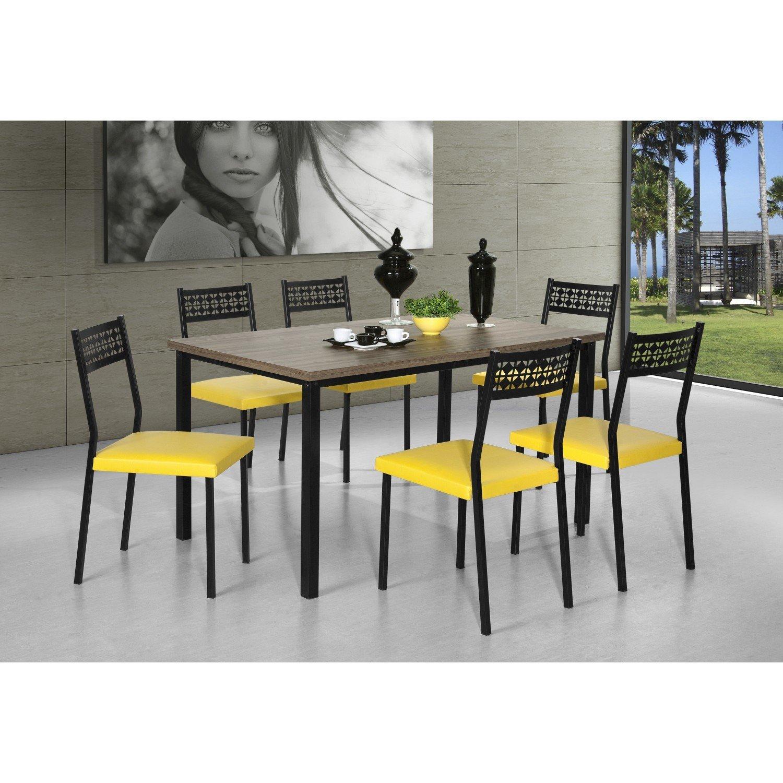 Conjunto Sala de Jantar Mesa Thais 6 Cadeiras Thais Aço Nobre Nogal / Preto