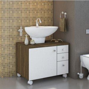 Gabinete para Banheiro 1 Porta Mimo Albatroz Móveis (Não Acompanha Cuba) Cedro/Branco