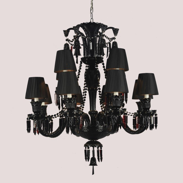 lustre candelabro para 12 l mpadas baccarat arquitetizze preto em lustres e pendentes na. Black Bedroom Furniture Sets. Home Design Ideas