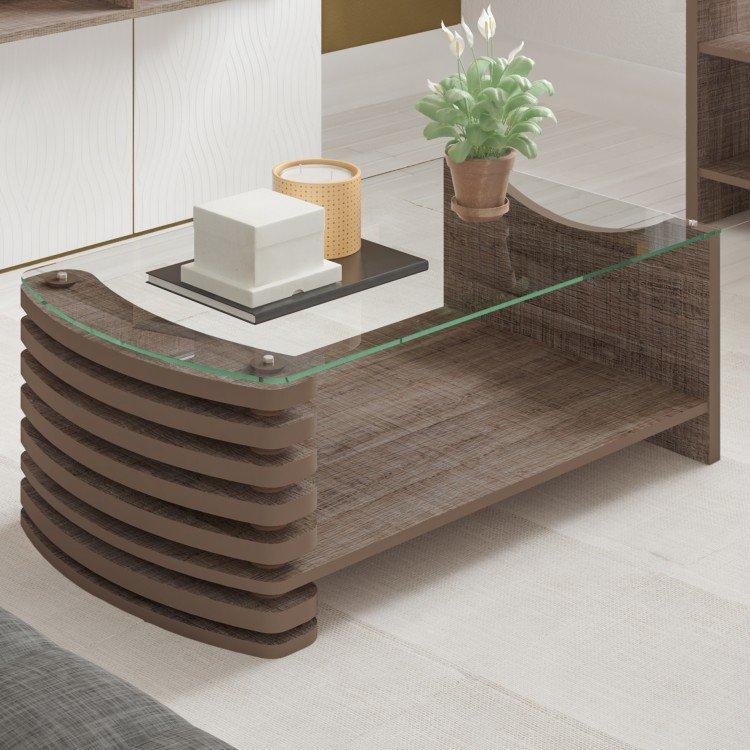 Mesa de centro com tampo de vidro sonatta veneza canela em - Fotos de mesas de centro ...