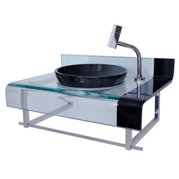 Gabinete para Banheiro de Vidro Mini Chopin Astra Preto em Gabinetes na Madei -> Gabinete De Banheiro Astra
