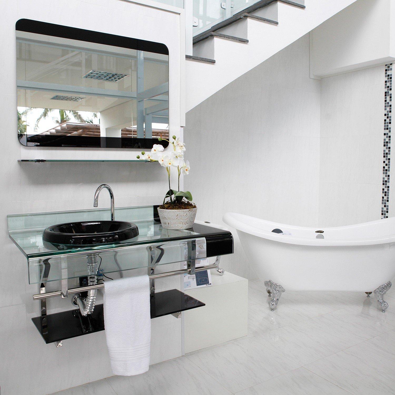 Gabinete Para Banheiro De Vidro Chopin Astra Preto  R$ 1651,10 em Mercado L -> Gabinete De Banheiro Astra