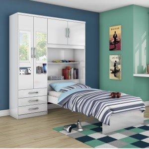 Guarda Roupa Solteiro 4 Portas com Espelho e Cama Baú Siena Happy Móveis Flex Color Branco Rosa