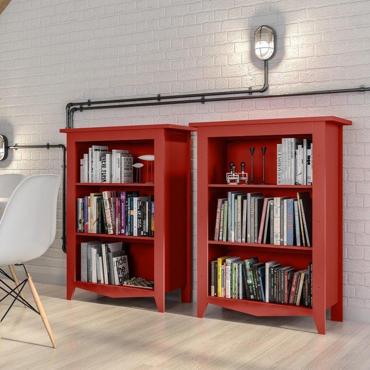 Compre Armário Classic Líder Design Vermelho: Estante Para Livros Classic Lider Design Vermelho Em