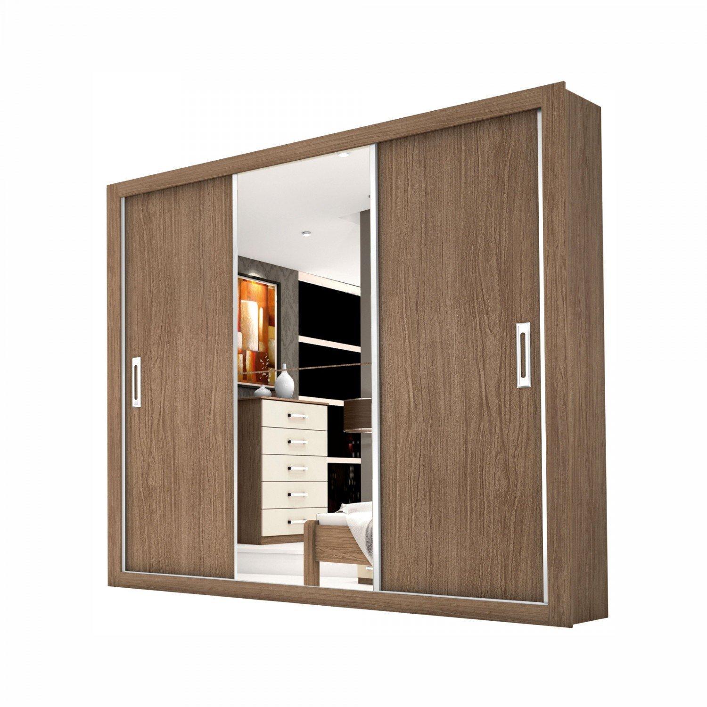 03fb6e131 Gestaltungsideen   Guarda Roupa Casal Com Espelho 3 Portas De Correr Lara  Da R  599