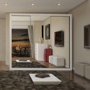 Guarda Roupa Casal com Espelho 3 Portas de Correr Flórida Siena Móveis Branco