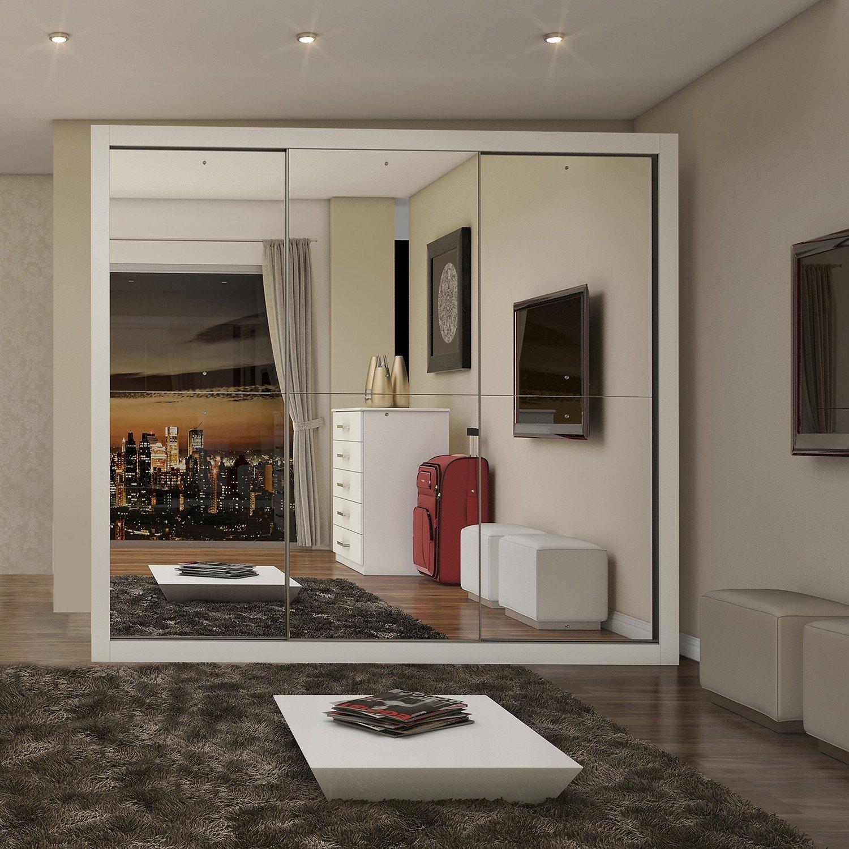 Guarda roupa casal com espelho 3 portas fl rida siena r for Armario deslizante barato