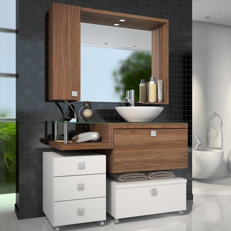 Gabinete para banheiro com espelheira vicenza sem cuba for Casa moderna vicenza