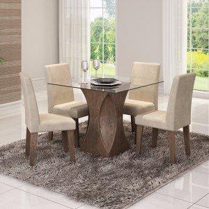 Conjunto Sala de Jantar Mesa Tampo em Vidro Andréia 4 Cadeiras Milena Cimol Marrocos/Suede Bege
