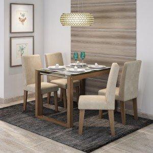 Conjunto Sala de Jantar Mesa Tampo em Vidro Anita 4 Cadeiras Milena Cimol Savana/Suede Bege