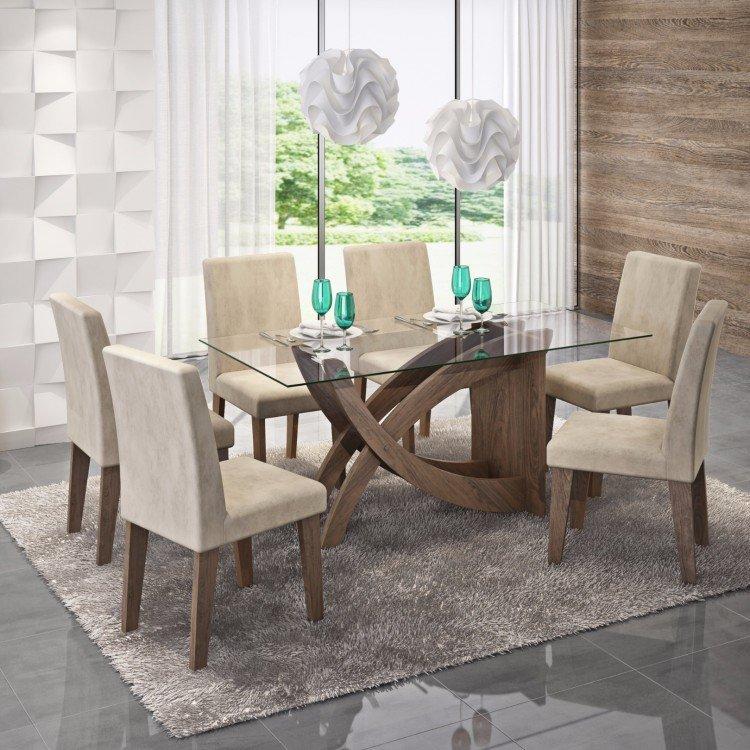 Conjunto sala de jantar mesa fl via 6 cadeiras milena for Sala 2 conjunto de artes escenicas