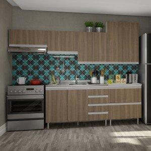 Cozinha Completa com Balcão e Tampo 6 Peças Modena Completa Móveis Andorra