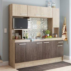 Cozinha Compacta 8 Portas 1 Gaveta Nápoles Decibal Acácia/Freijó