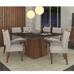 Conjunto Sala de Jantar Mesa Tampo em Vidro 8 Cadeiras Golden Itália Dj Móveis Rústico Malbec/Pena Bege