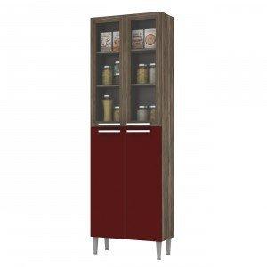 Paneleiro Duplo 2 Portas em Vidro Style Fellicci Naturalle/Bordô