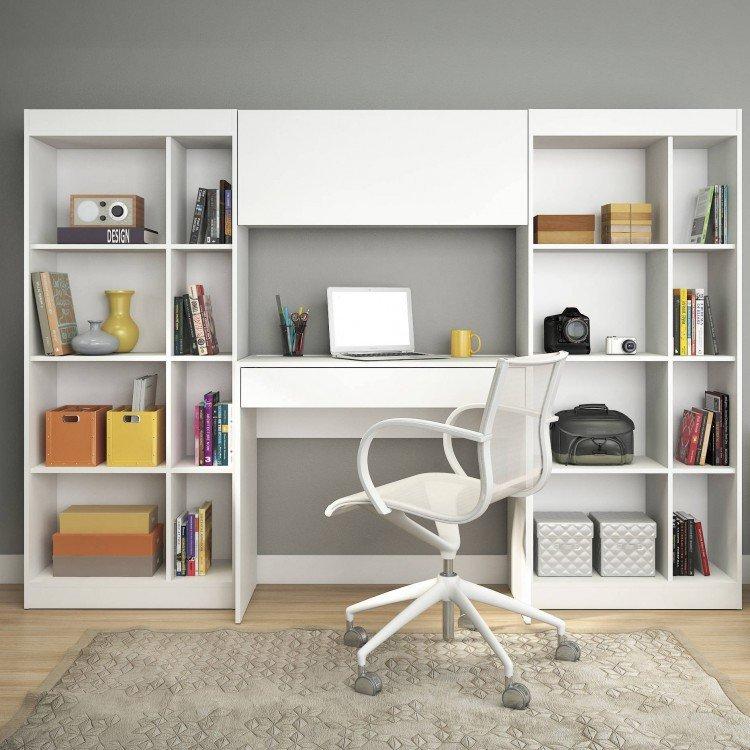 Home office com 1 escrivaninha 2 estantes 1 arm rio prime - Estantes para armarios ...