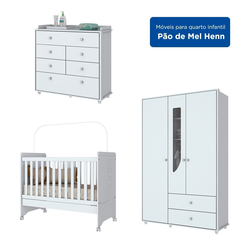 Quarto Infantil com Guarda Roupa 3 Portas, Cômoda e Berço Mini Cama Benjamin Branco