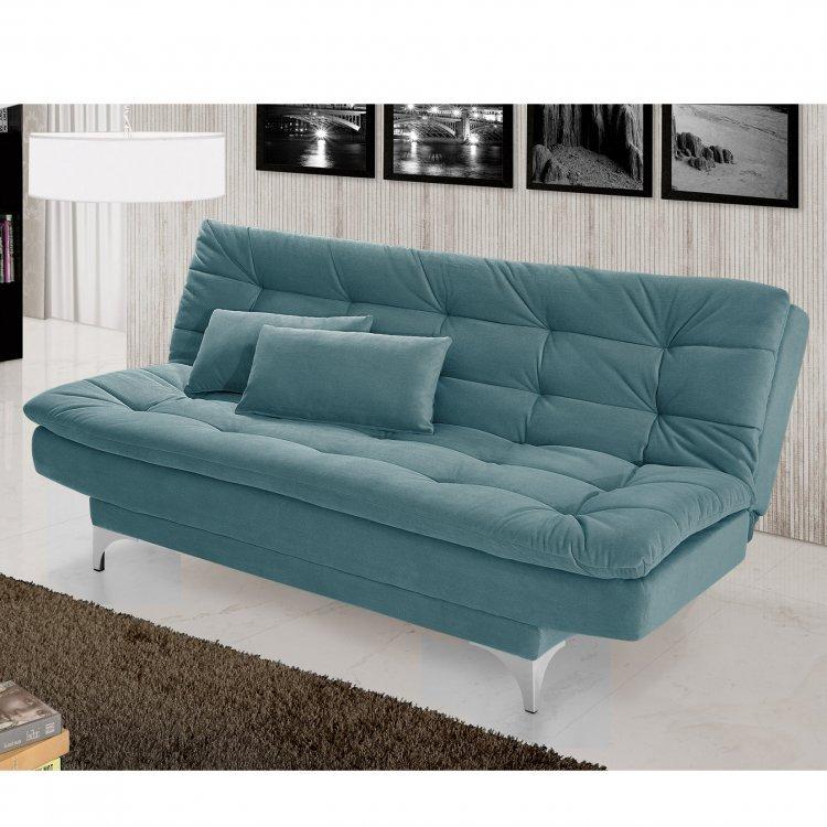 Sof cama 3 lugares pratic imp rio estofados azul turquesa for Sofa azul turquesa
