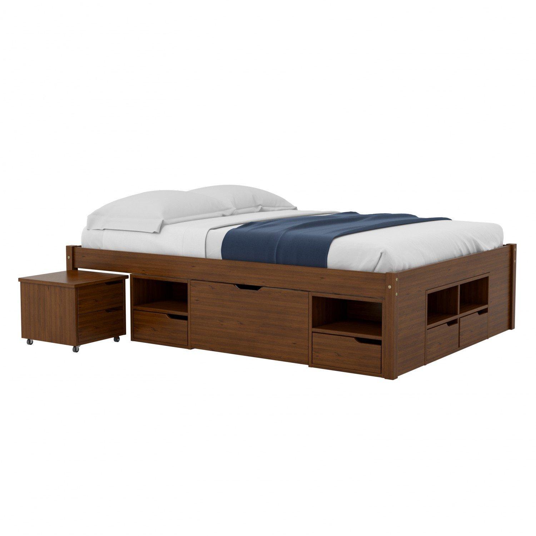 Cama queen multifuncional madeira maci a 6 gavetas ch eb for Tipos de camas queen