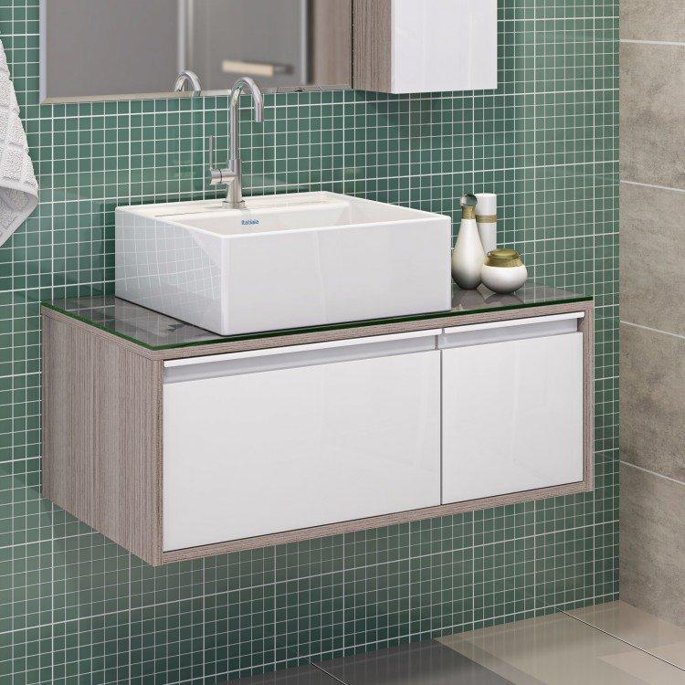 Linha Banheiro Itatiaia : Gabinete para banheiro com cuba quadrada p?rola itatiaia