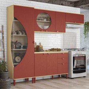 Cozinha Completa 7 Portas 5 Peças Retrô Pop Kappesberg Pine/Marsala