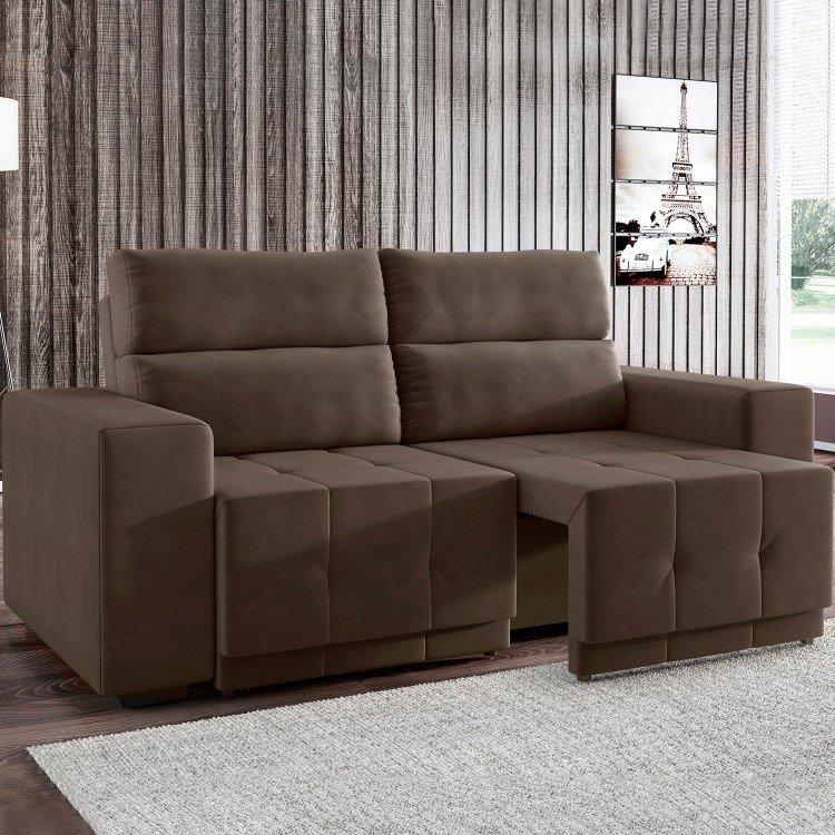 Sof retr til 3 lugares lucca siena m veis marrom em sof - Medidas de sofas 3 2 ...