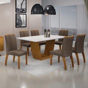 Conjunto Sala de Jantar Mesa Tampo MDF/Vidro 6 Cadeiras Linho Alemanha Leifer Flex Color Imbuia Mel/Branco