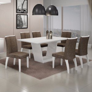 Conjunto Sala de Jantar Mesa Tampo MDF/Vidro 6 Cadeiras Linho Alemanha Leifer Flex Color Branco/Linho Marrom