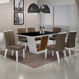 Conjunto Sala de Jantar Mesa Tampo MDF/Vidro 6 Cadeiras Linho Alemanha Leifer Flex Color Branco/Preto