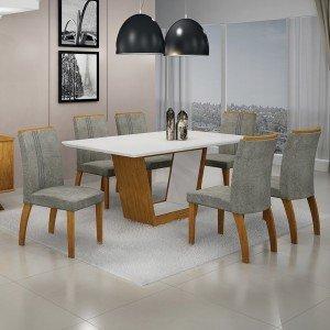 Conjunto Sala de Jantar Mesa Tampo MDF/Vidro 6 Cadeiras África Alemanha Leifer Flex Color Imbuia Mel/Branco
