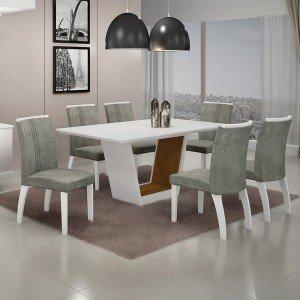 Conjunto Sala de Jantar Mesa Tampo MDF/Vidro 6 Cadeiras África Alemanha Leifer Flex Color Branco/Imbuia Mel