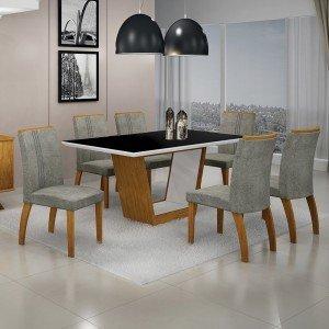 Conjunto Sala de Jantar Mesa Tampo MDF/Vidro 6 Cadeiras África Alemanha Leifer Flex Color Imbuia Mel/Preto/Branco