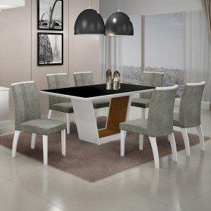 Conjunto Sala de Jantar Mesa Tampo MDF/Vidro 6 Cadeiras África Alemanha Leifer Flex Color Branco/Preto/Imbuia Mel