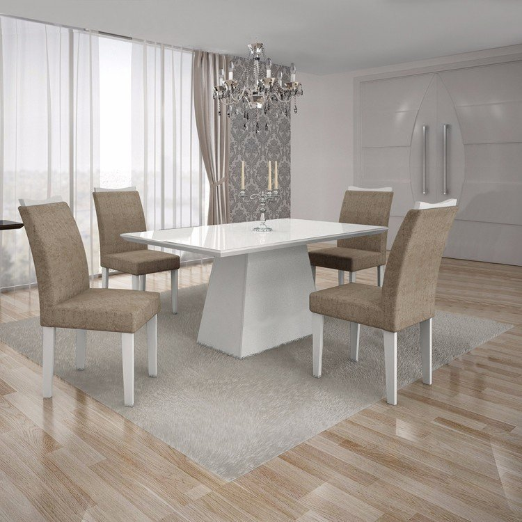 Conjunto sala de jantar mesa tampo mdf vidro branco 4 for Sala 2 conjunto de artes escenicas