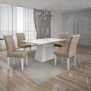 Conjunto Sala de Jantar Mesa Tampo MDF/Vidro Branco 4 Cadeiras Pampulha Leifer Branco/Linho Bege