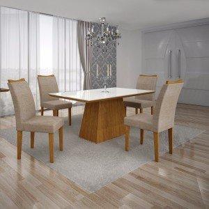 Conjunto Sala de Jantar Mesa Tampo MDF/Vidro Branco 4 Cadeiras Pampulha Leifer Imbuia Mel/Linho Bege