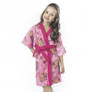 Roupão Infantil P Aveludado Barbie Penteados Mágicos Algodão Lepper Rosa