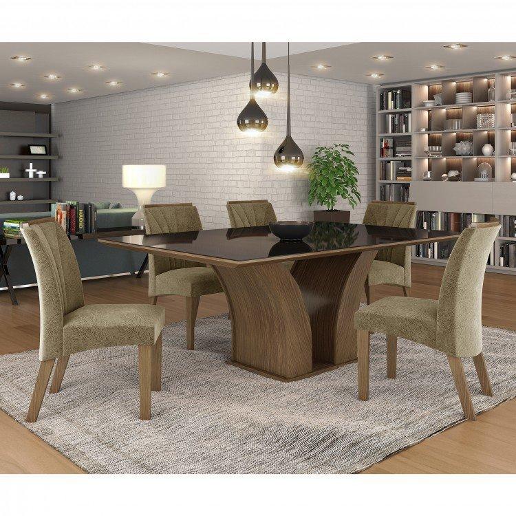 Conjunto sala de jantar mesa tampo mdf vidro 6 cadeiras for Mobilia 9 6