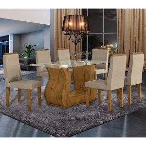 Conjunto Sala de Jantar Mesa Tampo em Vidro 6 Cadeiras Dafne Móveis Lopas Rovere/Rinzai Bege