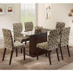 Conjunto Sala de Jantar Mesa e 6 Cadeiras Carla Madesa Tabaco