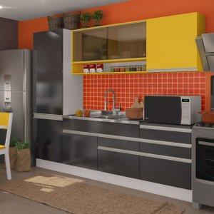 Cozinha Compacta Andressa Madesa Branco/Ébano/Amarelo