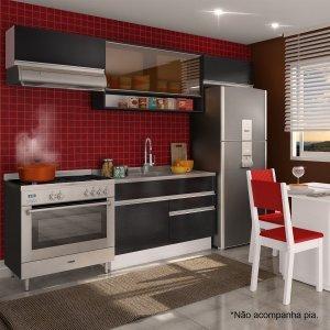 Cozinha Compacta Glamy Marina (Não acompanha Tampo e Pia) Madesa Branco/ Ébano/ Preto